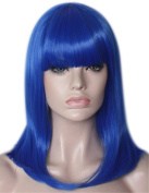 46cm Blue Shoulder Wig Sexy Multi-Coloured Highlighted Cosplay Harajuku Style Lolita Long Bob Hair Wigs with Flat Neat Bangs- QHQ-ShiningLife wig020BL