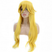 Anogol Hair Cap+Princess Wig Long Wavy Halloween Cosplay Wig Yellow Costume Wigs