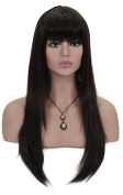 Cosplay Wigs for Women 60cm Long Straight Hair Extensions Full Head Dark Brown Wig with Bangs and Cap and Comb