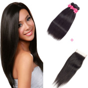 Ms Love Hair Brazilian Straight Virgin Hair 3 Bundles With Free Part Closure, Human Hair Bundles, 100% Unprocessed Hair Extensions, Natural Colour