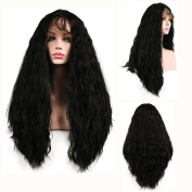 SHANDIREN Outdoor Natural Black #1B Lace Front Wig Long Curly Natural Body Wave Soft Fibre Hair Synthetic Wigs For Beautiful Women Heat Resistant 50cm
