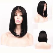 SHANDIREN Outdoor Short Bob Straight 41cm Lace Front Wigs Shoulder Length Synthetic High Density Heat Resistant Fibre Wigs For Women