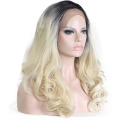 Premier Crown Hair Synthetic Wavy Golden Blonde Ombre Wig Dark Roots Half Hand Tied Lace Front Wigs Heat Resistant Hair Wig