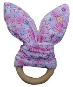 Safety Wooden Natural Baby Rabbit Cute Ring Teether