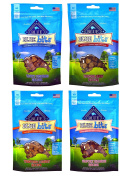 Blue Pack of 4 Buffalo Treats Bits Dog Treats Pouches, 4 Flavours (Savoury Salmon, Tasty Chicken, Tender Beef and Tempting Turkey), 120ml, Blue