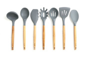 Lively Home Goods 7-Piece Premium Silicone Kitchen Cooking Utensils Set with Bamboo Handle for Nonstick Cookware, Grey, Eco-Friendly, BPA Free