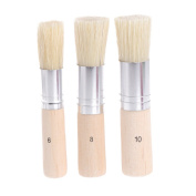 Misright 3Pcs Wooden Stencil Brush Hog Bristle Brushes Acrylic Watercolour Oil Painting