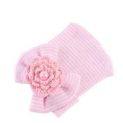 Iumer Newborn Cap Beanie Baby Infant Toddler Girls Bow Flower Soft Cap Beanie Cute Hat Pink