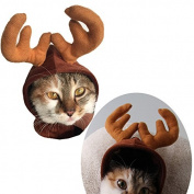 Rurah Pet Cat Dog Cap Hat Halloween Pet Cute Reindeer Costume Hat for Cat and Small Dog