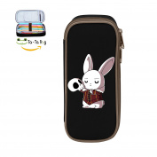 YYOoo Cute Rabbit And Skull Big Capacity Student Pen Pencil Case Pen Bag Makeup Pouch Durable Students Stationery With Double Zipper Black
