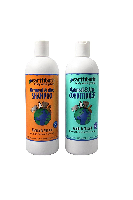 Earthbath Oatmeal & Aloe Shampoo / Conditioner Bundle (Vanilla & Almond) -  (1) 470ml Shampoo, (1) 470ml Conditioner