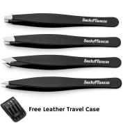 4 Tip Tweezer Set - SuchATweeze Premium Stainless Steel Precision Tweezers For Men & Women. Guaranteed Best Straight, Slant, & Ingrown Pluckers For Shaping Eyebrows