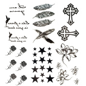 Antop Black Feather Rose Flower Star Cross Waterproof Temporary Tattoos 6 Sheets