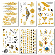 Metallic Temporary Tattoos Flash Tattoos 6 Sheets 150+ Designs Temporary Fake Jewellery Tattoos Bracelets Feathers Wrist and Arm Bands