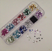 12 Colour Mix Styles Nail Glitter Rhinestone Gem for Nail Uv Tip Decoration
