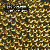 Perfect Summer 1440pcs/pack Nails Artistic AB Round DIY Decorations Designs Different Sizes 1.2-3.2mm Crystal Flatback Rhinestones and Studs Beadsd Charms Nails Tips£¨golden 1.2mm