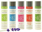 PURE + SIMPLE ARIA LIP BALM COLLECTION, VEGAN, SET OF 5 TUBES KEY LIME, LAVENDER, ROSE, PEPPERMINT, TUSCAN ORANGE, AVOCADO OIL, JOJOBA OIL, SOOTHES AND HEALS.