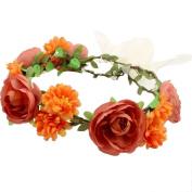 Ecurson Handmade Flower Garland Halo For Wedding Flower Wreath Decorations