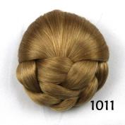 Women's Braided Clip In Hair Chignon Donut Roller Synthetic Hairpieces Clip In Hair Bun High Temperature Fibre Hair Chignon