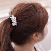 Ecurson Women Fashion Rhinestone Crystal Pearl Hair Band Rope Elastic Ponytail Holder