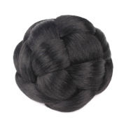 Smilco Braid Fake Hair Bun Hairpiece Extension for Women Short Hair