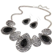 JSDY Womens Drop Totem Chain Bib Necklaces Hook Earring Fashion Jewellery Set 41cm Black