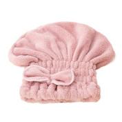 Raylans Women Elastic Shower Cap Microfiber Drying Hair Dry Towel Bath Cap Pink