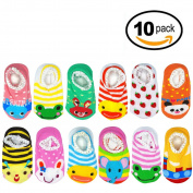 Liwely 10 Pairs Baby Socks, Anti Slip Crew Boat Socks for 9 - 24 Months Infants and Toddlers