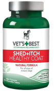 Vet's Best Healthy Coat Shed and Itch Relief Dog Supplements, 50 Chewable Tablets, USA Made