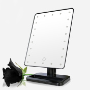 Allrise 22 LED Lighted Vanity Mirror, Dimmable Light 10x Magnifying Vanity 360° Rotating Touch Screen Tabletop Illuminated Make up Mirror