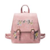 Women Handbag, Hunzed Girl Leather Embroidery Flowers School Shoulder Bag Backpack Women Crossbody Bag Travel Backpack Rucksack