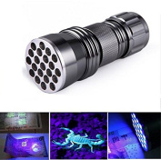 LingsFire 21 LED UV Ultra Violet Blacklight Pocket Flashlight for Spotting Scorpions and Bed Bugs, Counterfeits, A/C Leaks, Pet Stains, Counterfeit Money Detector and Detect Fluorescent Substance
