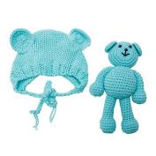 Newborn Baby Girl Boy Photography Prop Photo Crochet Knit Costume Bear +Hat Set blue