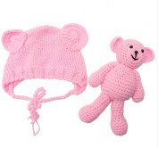 Newborn Baby Girl Boy Photography Prop Photo Crochet Knit Costume Bear +Hat Set pink