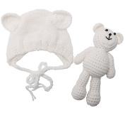 Newborn Baby Girl Boy Photography Prop Photo Crochet Knit Costume Bear +Hat Set white