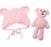 Newborn Baby Girl Boy Photography Prop Photo Crochet Knit Costume Bear +Hat Set light pink