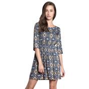 Woman Floral Prints 3/4 Sleeves Elastic Waist A Line Dress Navy Blue XS