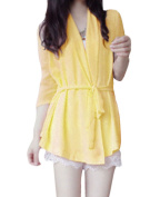NEWS Ladies Shawl Lapel Open Front Leisure Blazer Yellow XS