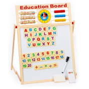 7 In 1 Magnetic White Board Black Board Dry Erase Board with Word 51 PCS Wooden Magnets Letters Numbers Words Chalk Pen for Education Drawing Writing Tablet (2 Sided)