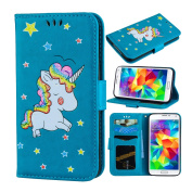 Galaxy S5 Case, Ranyi [3D Glitter Unicorn Embossed] [Flip Magnetic Wallet] [3 Card Slot] Cute Bling PU Leather Folio Wallet Case with Stand for Samsung Galaxy S5 I9600 (2014 Release), blue