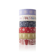 6 Rolls Christmas Washi Tape Set - Decorative Sticky Adhesive Masking Tape for Scrapbooking, DIY Craft Projects,Xmas Decorations and Gift Wrapping, 60m x 11 Yard Each