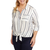 Heart and Crush Women's Plus Stripe Shirt with Pocket and Tie Front