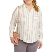 Heart and Crush Women's Plus Stripe Shirt with Back Split