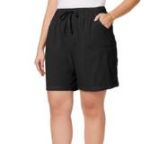 Karen Scott NEW Deep Black Womens Size 1X Plus Drawstring Stretch Short