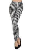 Womens Plus Size Black/White Houndstooth Design Leggings