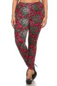 Womens Plus Size Rose Swirls Design Leggings