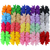 Chiffon 7.6cm Boutique Grosgrain Ribbon PinWheel Hair Bows clips For Baby Girls Teens Toddlers Newborn Set Of 40