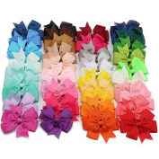 40Pcs 7.6cm Baby Girls Boutique 40 Colours Hair Bows Grosgrain Ribbon Alligator Clips