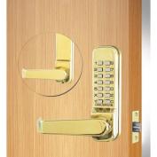 Codelocks Mechanical Tubular Lockset with 5.1cm - 1.9cm Latch, CL410-PB, Polished Brass