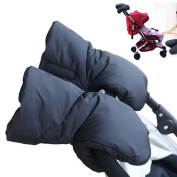 Dulcii A Pair Extra Thick Winter Stroller Hand Muff Outdoor Anti-freeze Waterproof Universal Baby Stroller Handle Warm Hand Gloves Muff – Black